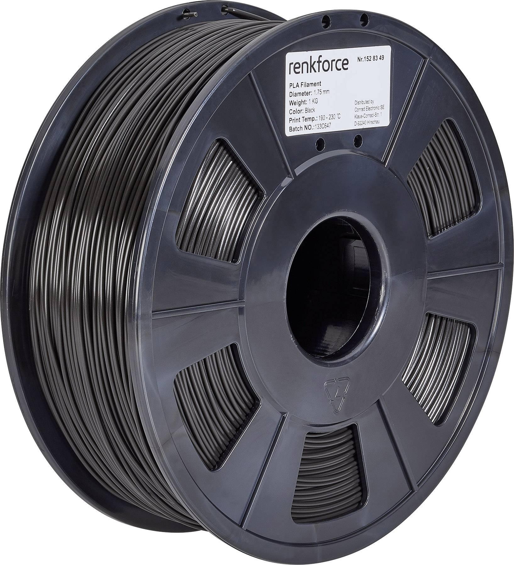 Vlákno pre 3Dtlačiarne, Renkforce 01.04.01.1103, PLA plast , 1.75 mm, 1 kg, čierna