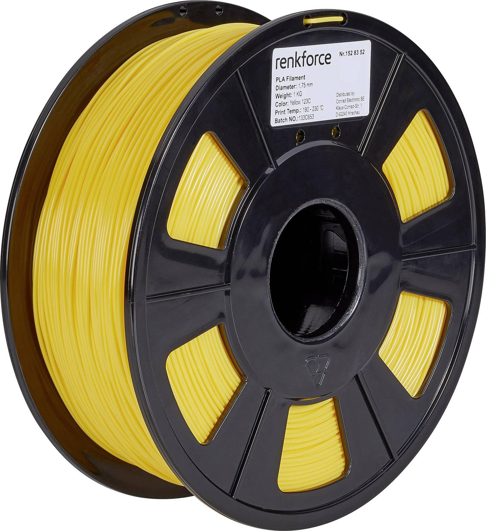 Vlákno pro 3D tiskárny Renkforce 01.04.01.1112, PLA plast, 1.75 mm, 1 kg, žlutá