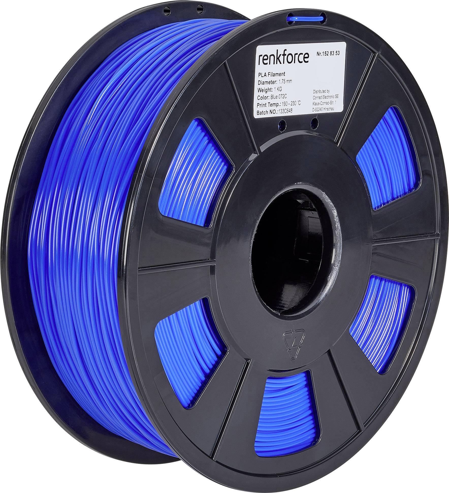 Vlákno pro 3D tiskárny Renkforce 01.04.01.1108, PLA plast, 1.75 mm, 1 kg, modrá