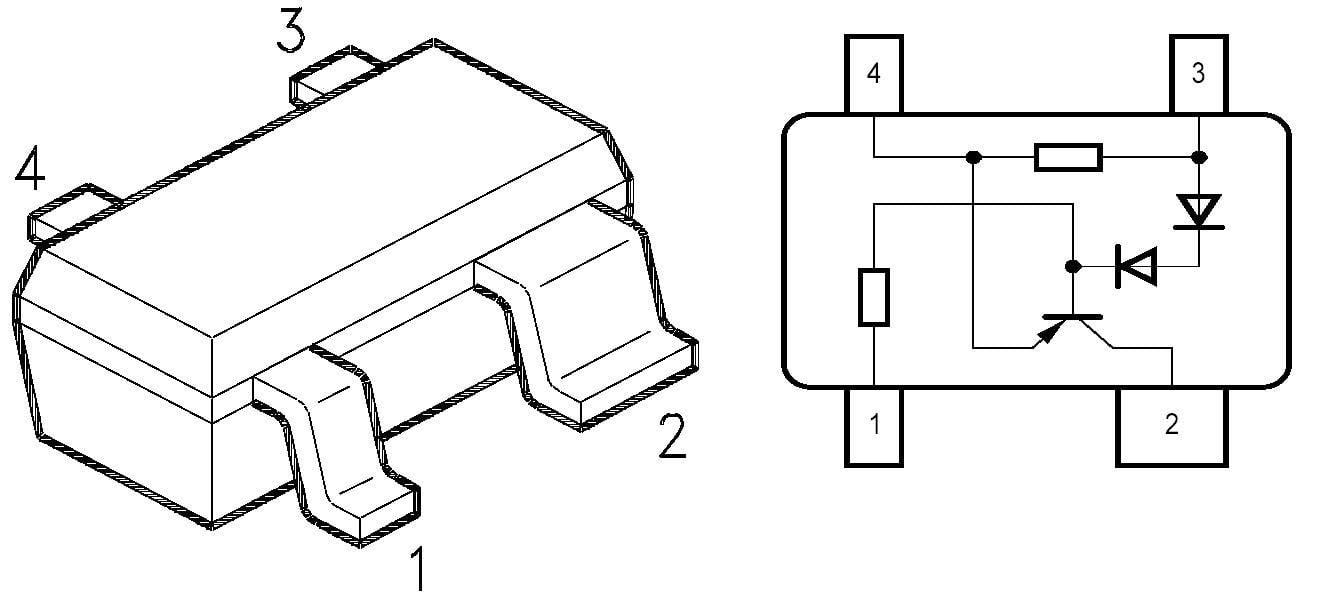 Budič LED série BCR Infineon BCR 402 R, SOT 143 R