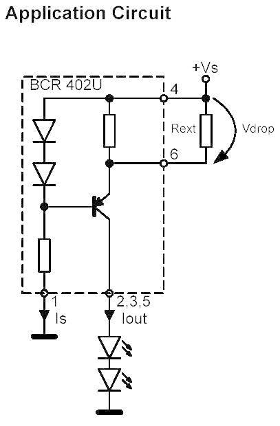 Budič LED série BCR Infineon BCR 402 U, SC 74