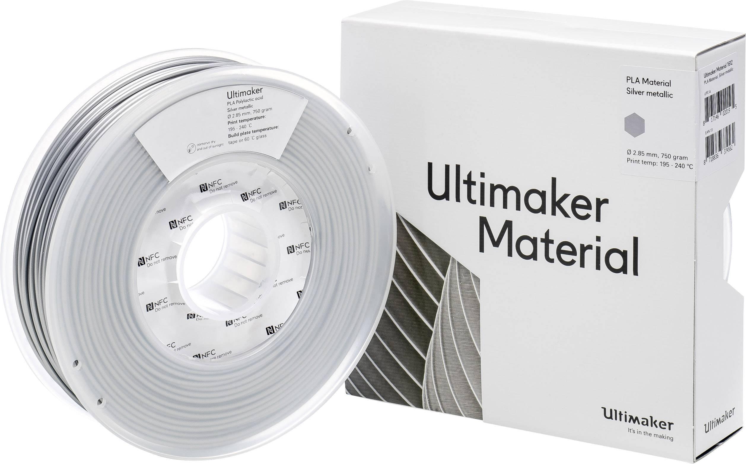 Vlákno pro 3D tiskárny Ultimaker PLA - M0751 Silver Metallic 750 - 211399, PLA plast, 2.85 mm, 750 g, stříbrná (metalíza)