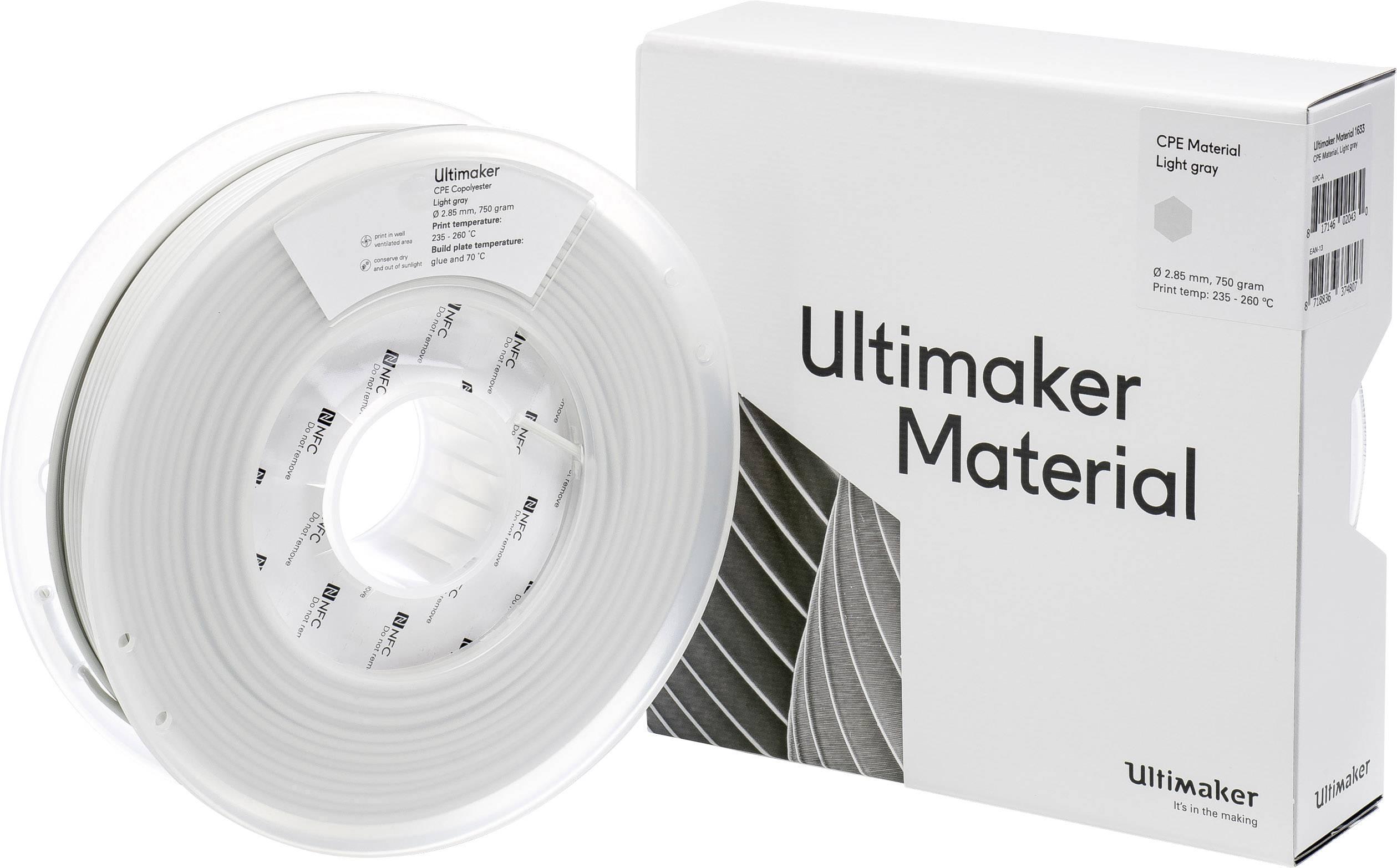 Vlákno pro 3D tiskárny Ultimaker CPE - M0188 Light Gray 750 - 201273, CPE , 2.85 mm, 750 g, světle šedá