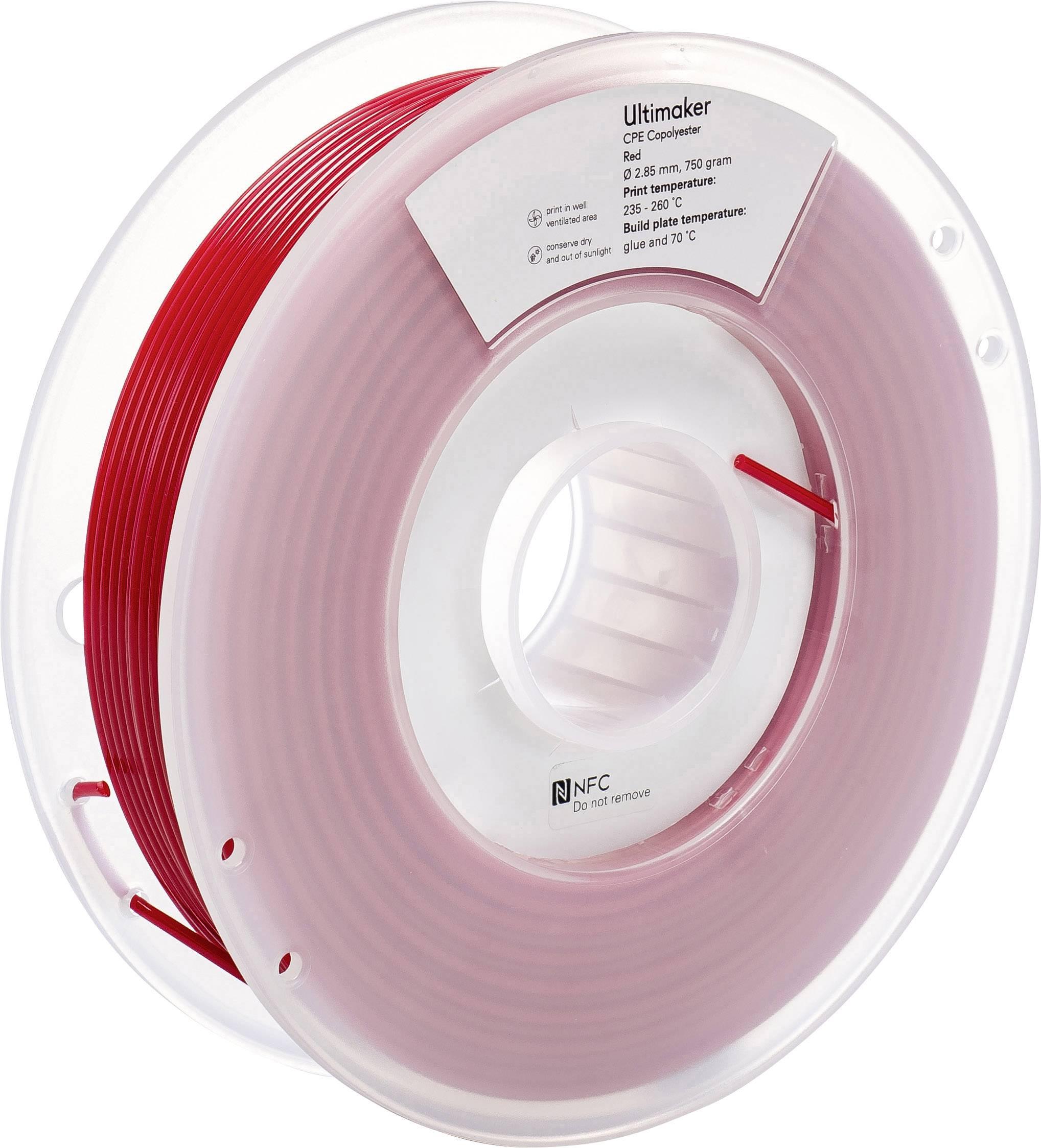 Vlákno pro 3D tiskárny Ultimaker CPE - M0188 Red 750 - 201273, CPE , 2.85 mm, 750 g, červená