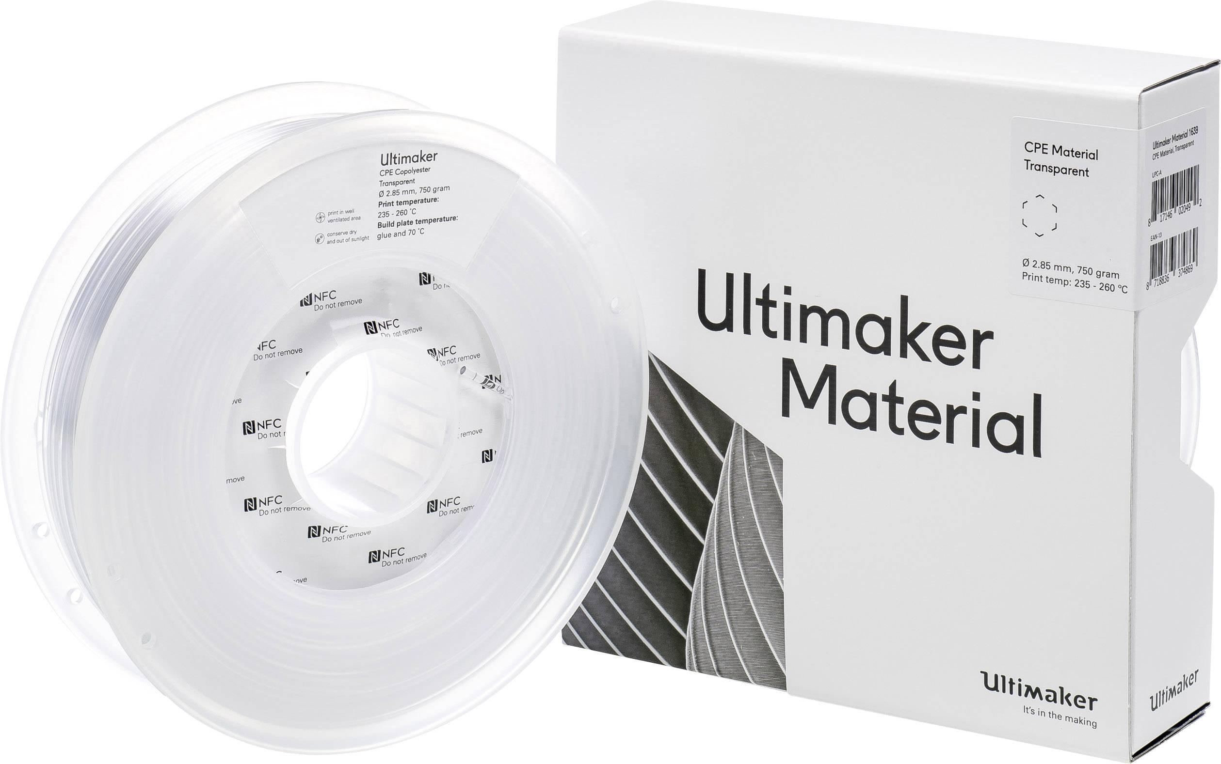 Vlákno pro 3D tiskárny Ultimaker CPE - M0188 Transparent 750 - 201273, CPE , 2.85 mm, 750 g, transparentní