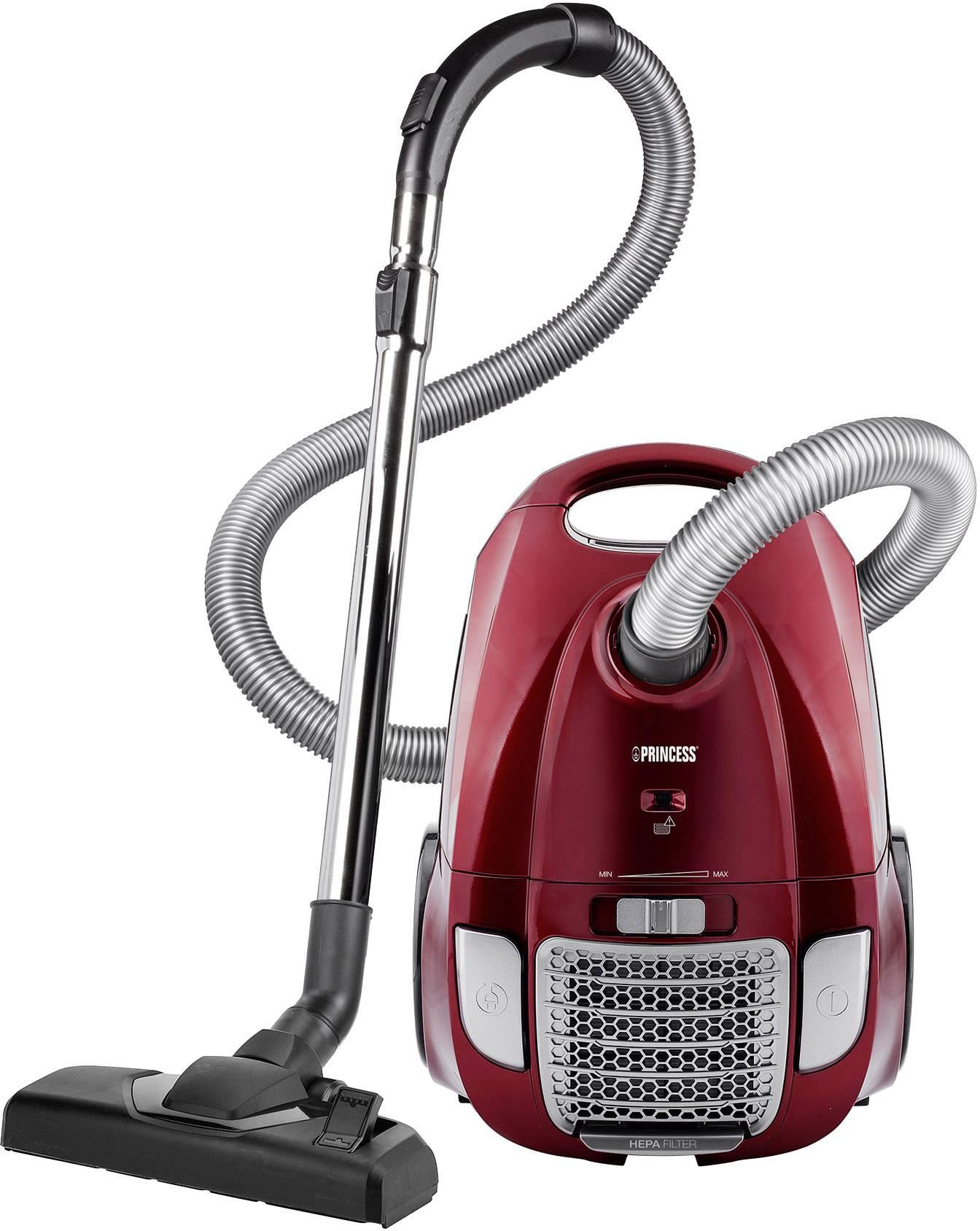 Sáčkový vysavač Princess Power Deluxe, 700 W, en.třída A , červená, stříbrná