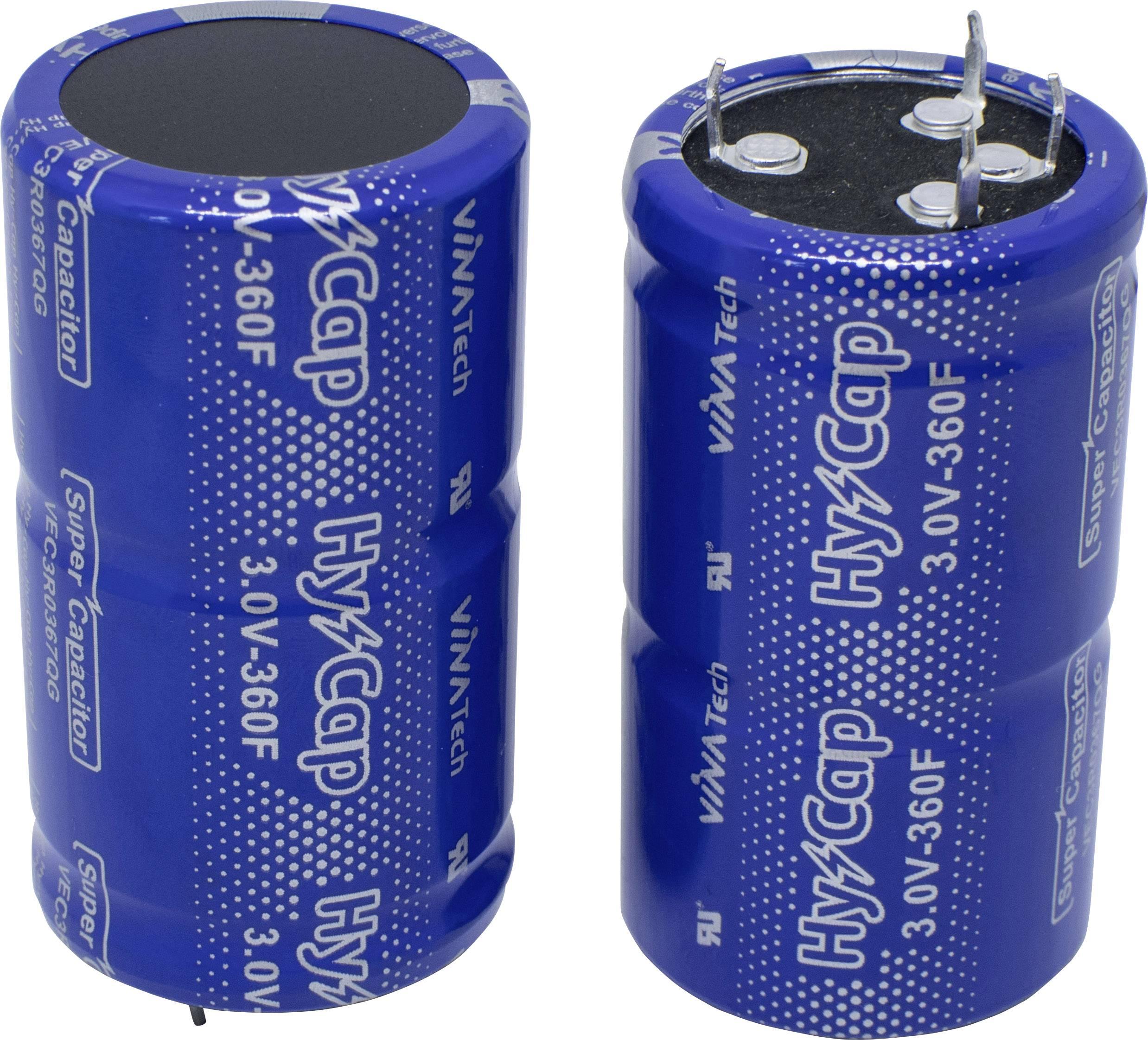 Dvouvrstvý kondenzátor VINATech VEC3R0367QG, 360 F, 3 V, (Ø x d) 35 mm x 62 mm, 1 ks