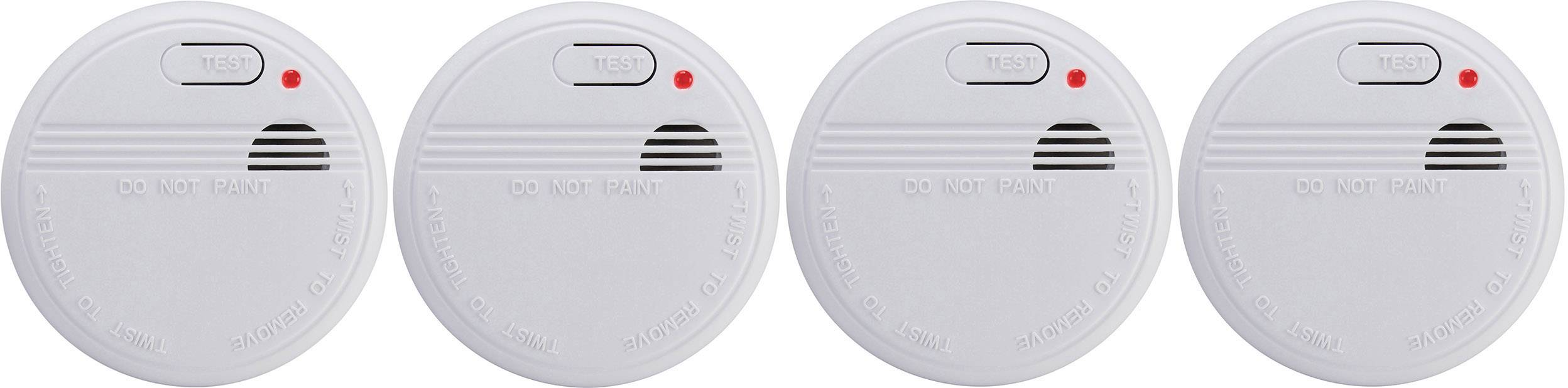 Detektor kouře Basetech na baterii, sada 4 ks
