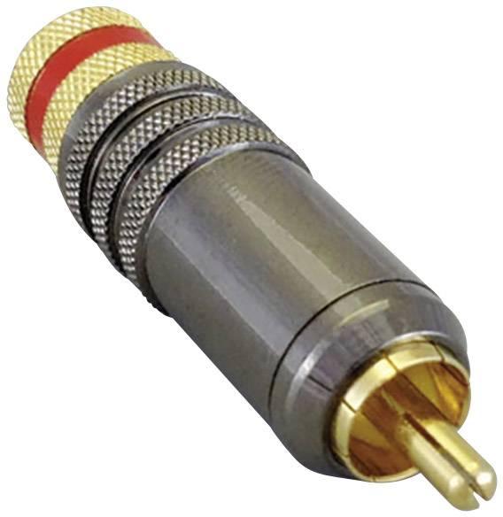 Cinch konektor zástrčka, rovná BKL Electronic 2, červená, 1 ks