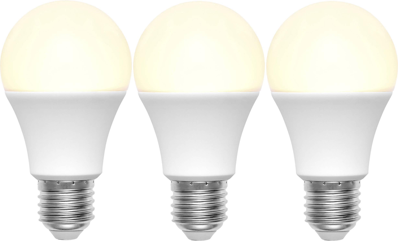 LED žárovka Basetech 230 V, E27, 9 W = 60 W, 110 mm, teplá bílá, A+ sada 3 ks