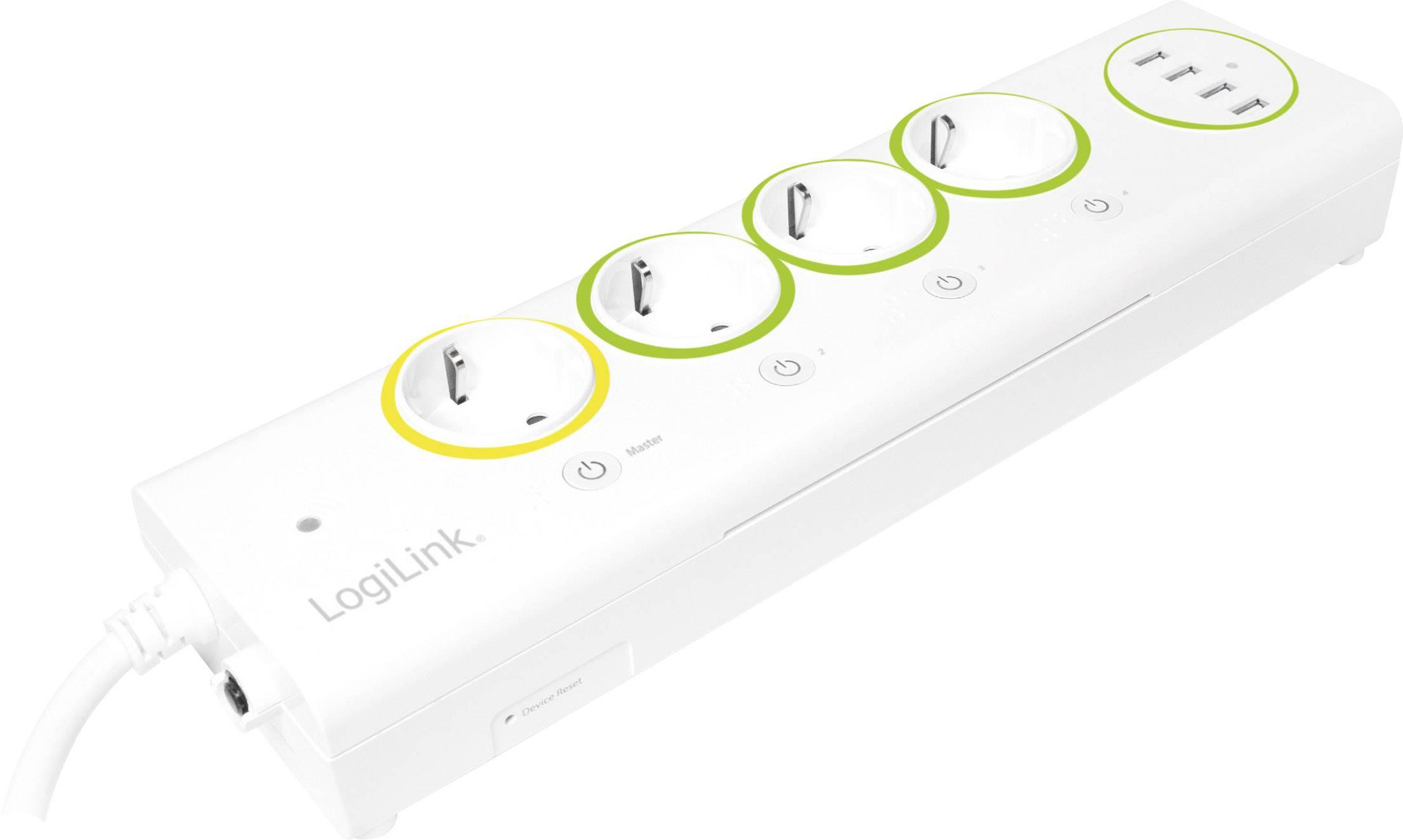 Inteligentná predlžovačka s Wi-Fi LogiLink LogiSmart PA0130, 1.50 m, biela, zelená, žltá