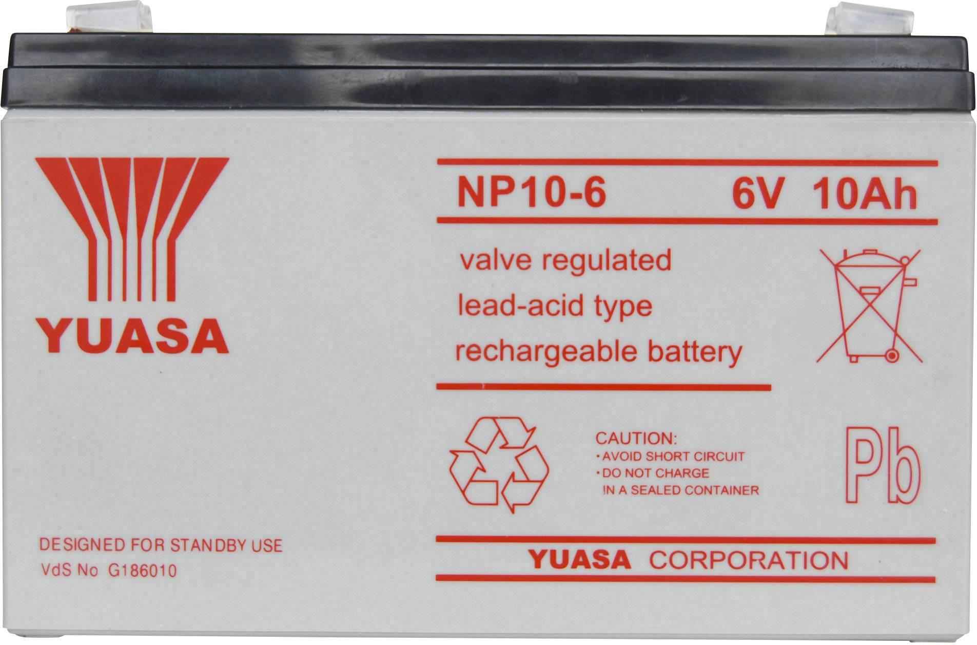 Olověný akumulátor Yuasa NP10-6 NP10/6, 10 Ah, 6 V