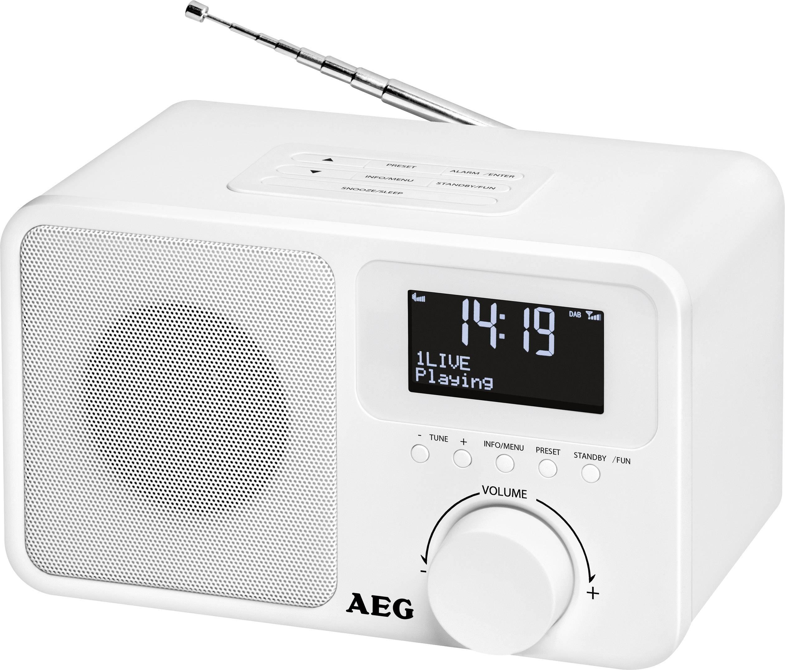DAB+ stolné rádio AEG DAB+ 4154, DAB+, UKW, AUX, biela