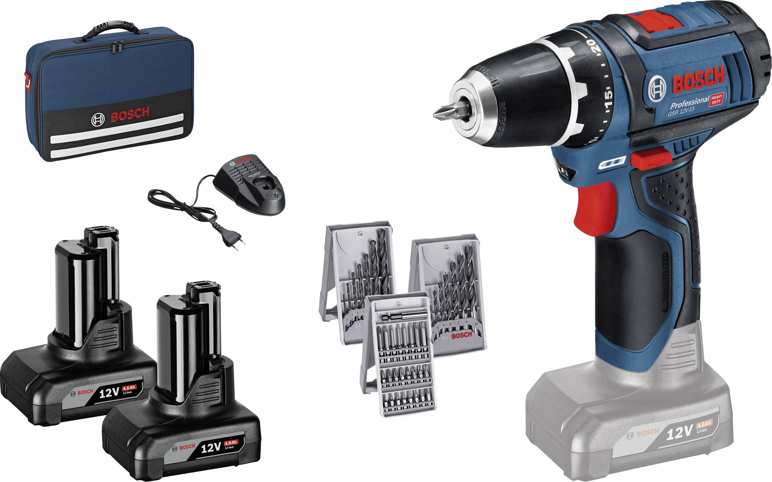 Aku vrtací šroubovák Bosch Professional GSR 12V-15 0615990HV1, 12 V, 4 Ah, Li-Ion akumulátor
