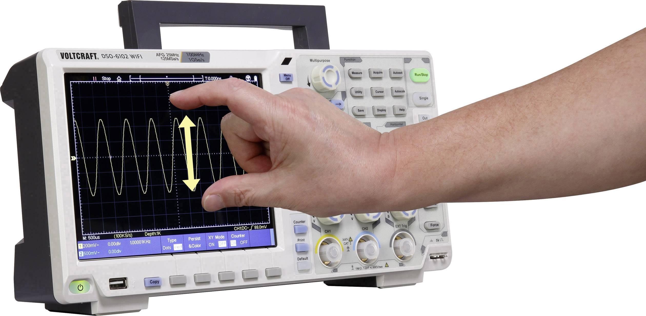 Digitální osciloskop VOLTCRAFT DSO-6102WIFI, 100 MHz, 2kanálová