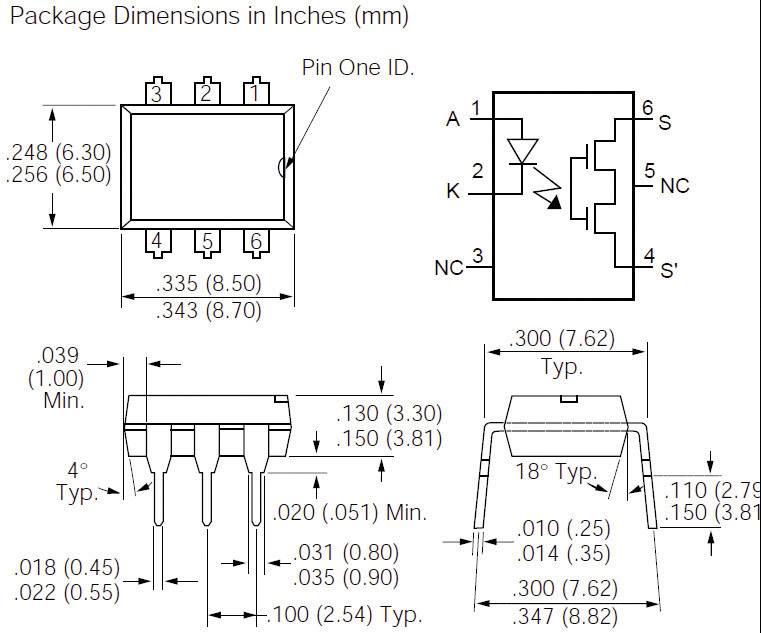Polovodičové relé Vishay LH1540AT LH1540AT, 60 mA, 150 mA, 1 ks