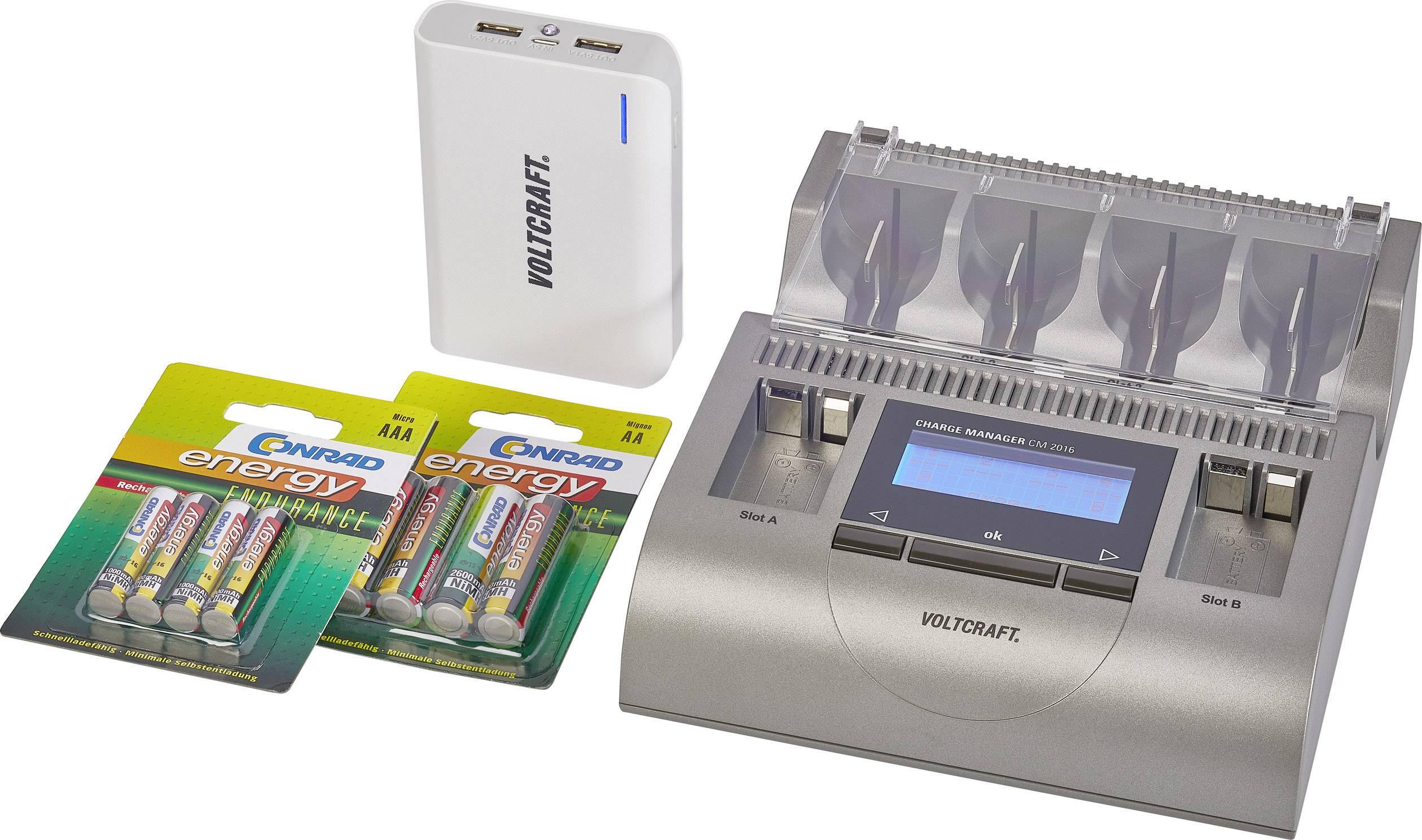 Nabíjačka na okrúhle akumulátory VOLTCRAFT Charge Manager CM2016 + Endurance + PB17, micro (AAA), mignon (AA), baby (C), mono (D), 9 V blok