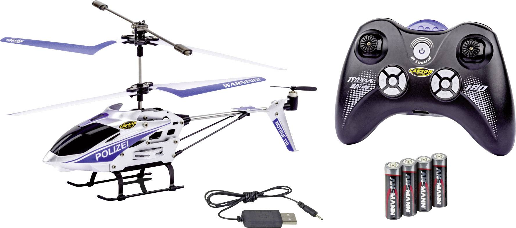 RC vrtuľník Carson Modellsport Easy Tyrann 180 Polizei, RtF
