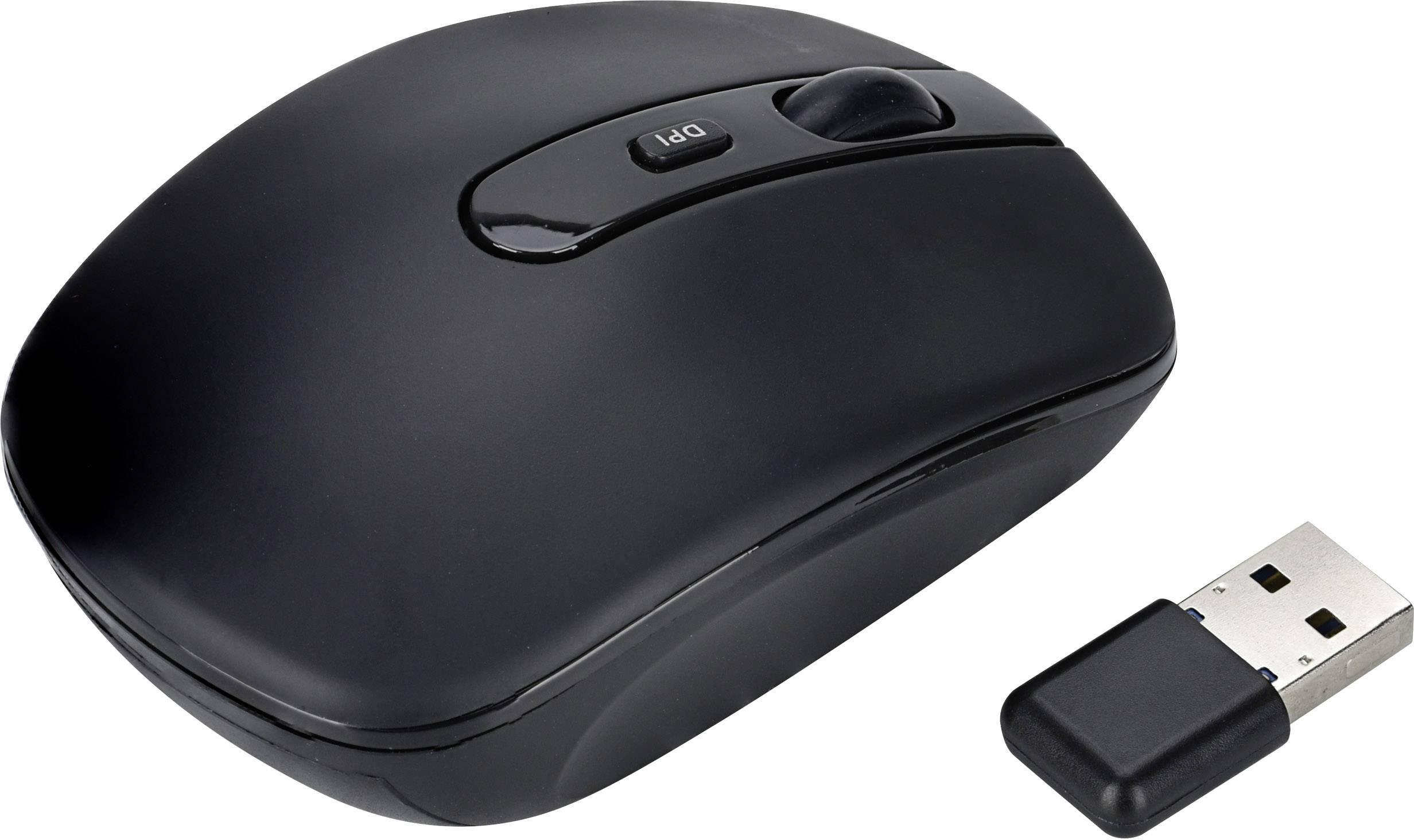 Infračervený bezdrátová myš Renkforce Silent RF-4619385, integrovaný scrollpad, černá