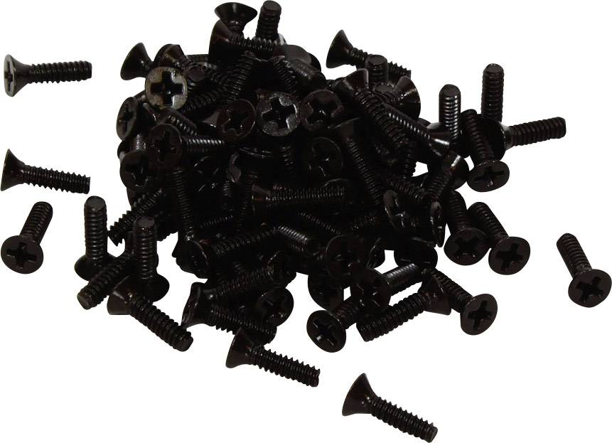 Náhradní šroub Hammond Electronics 1590MS100BK, ocel, černá, 100 ks