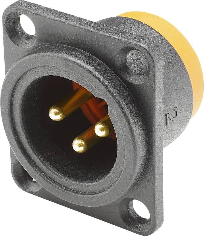 XLR konektor Hicon - přírubová zástrčka 3, černá, 1 ks