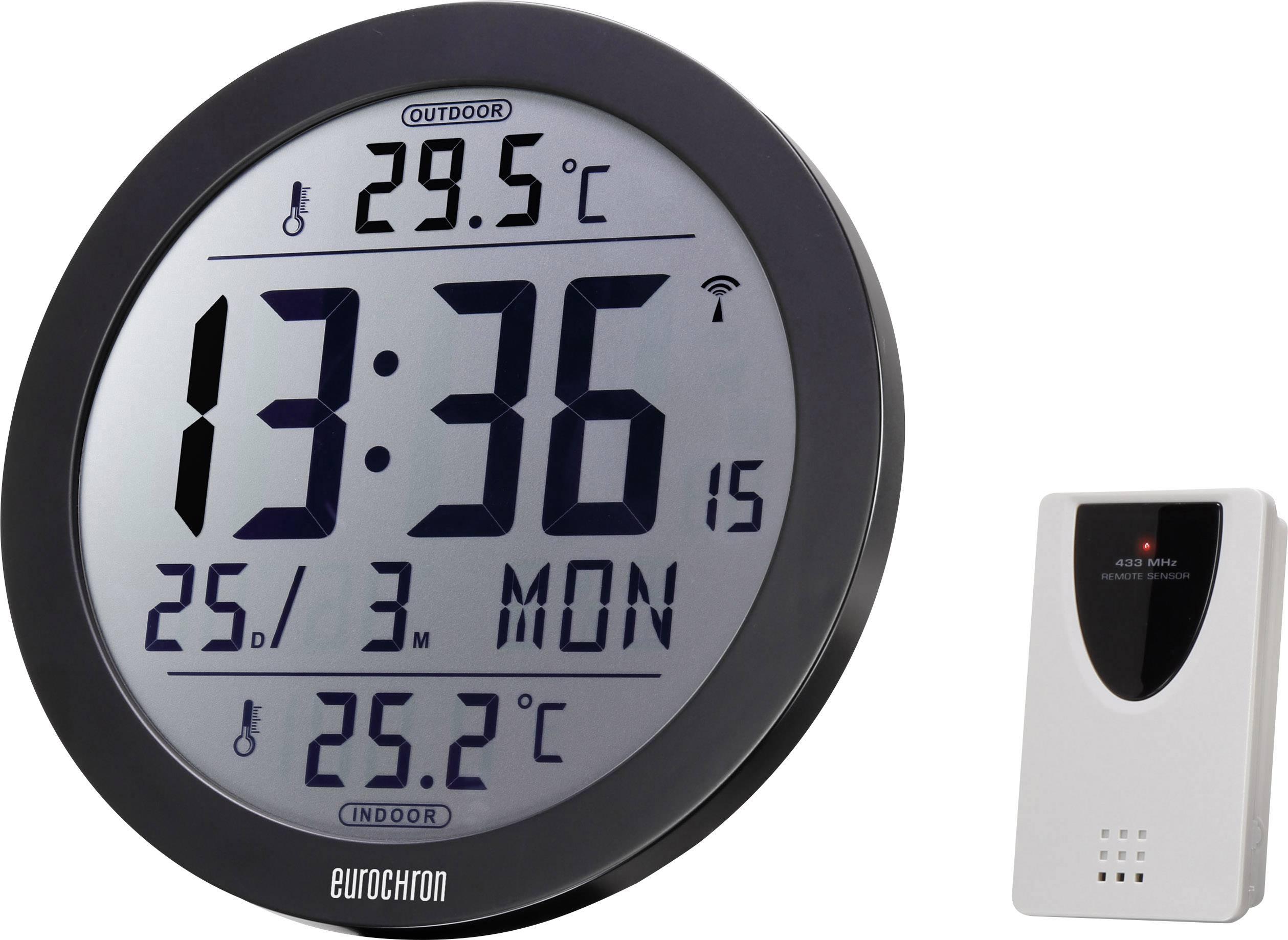 DCF nástenné hodiny Eurochron EFW 4002 EFW 4002, vonkajší Ø 210 mm, čierna