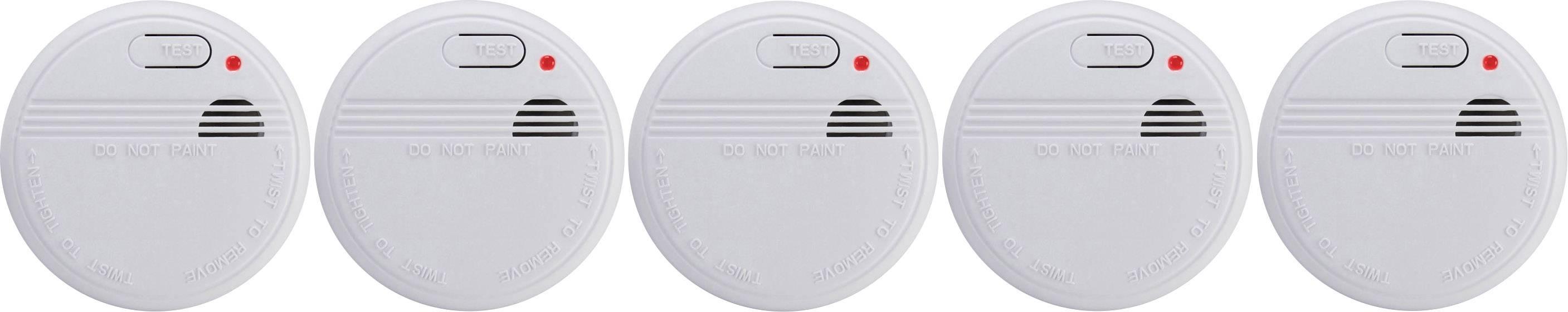 Detektor dymu Basetech na batérie, sada 5 ks