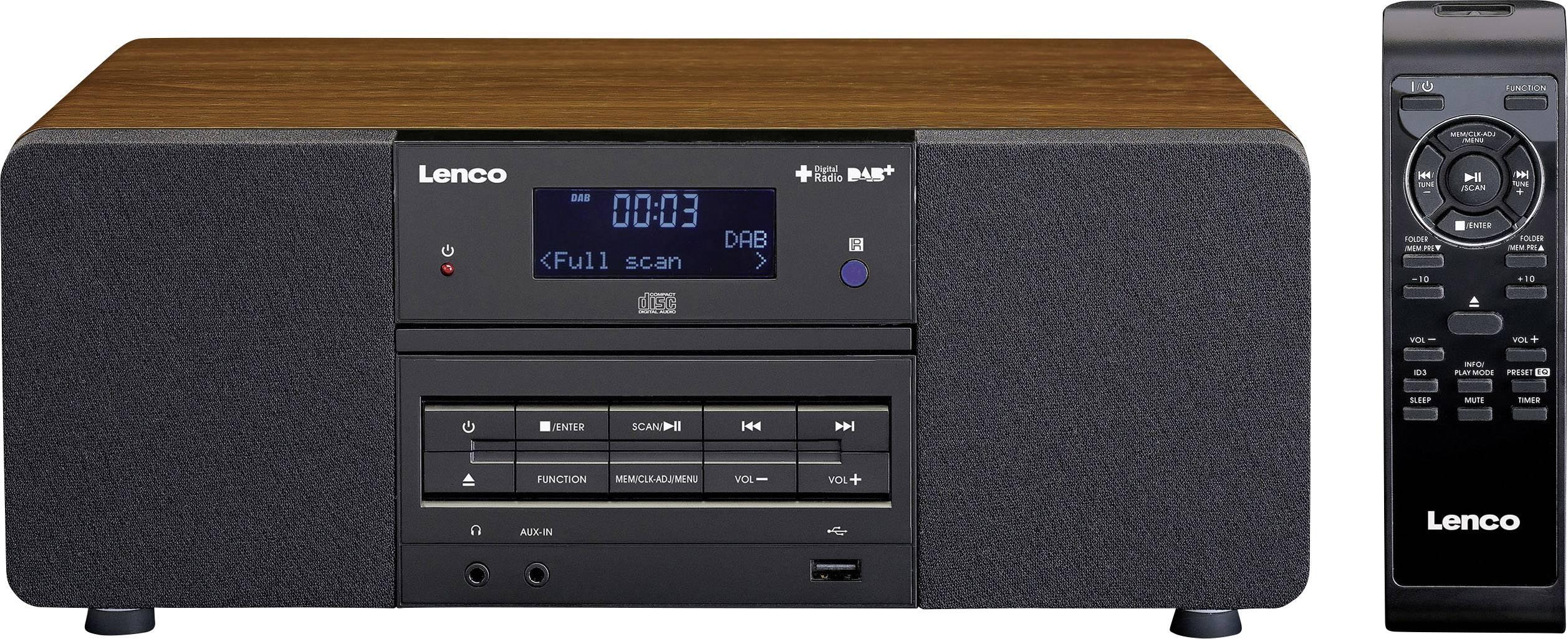 DAB+ stolné rádio Lenco DAR-050, CD, USB, AUX, DAB+, drevo