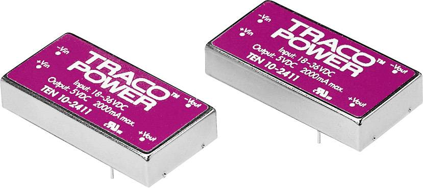 DC/DC měnič TracoPower TEN 10-1221, vstup 9 - 18 V/DC, výstup ±5 V/DC, ±1000 mA, 10 W