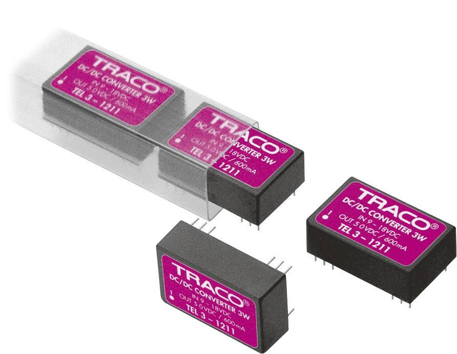 DC / DC menič napätia, DPS TracoPower TEL 3-1222, 12 V/DC, 12 V/DC, -12 V/DC, 125 mA, 3 W