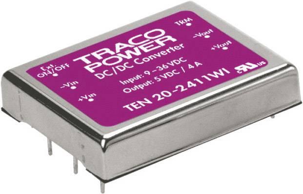 DC/DC měnič TracoPower TEN 20-2422WI, vstup 9 - 36 V/DC, výstup ±12 V/DC, ±835 mA, 20 W