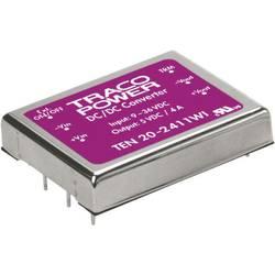 DC/DC měnič TracoPower TEN 20-4811WI, vstup 18 - 75 V/DC, výstup 5 V/DC, 4 A, 20 W