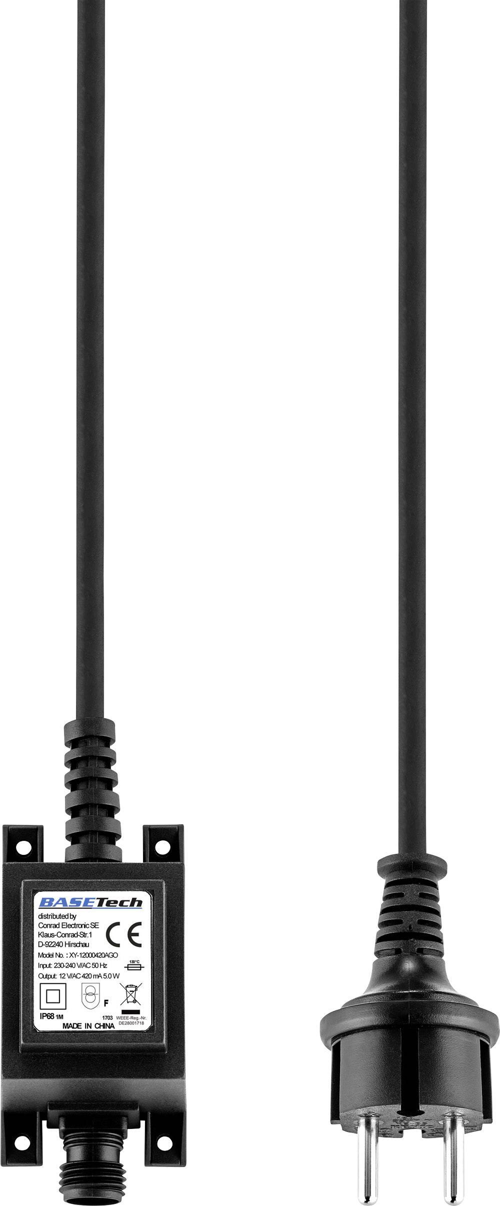 Transformátor pro halogenové osvětlení Basetech XY-12000420AGO, 5 W, 12 V/AC