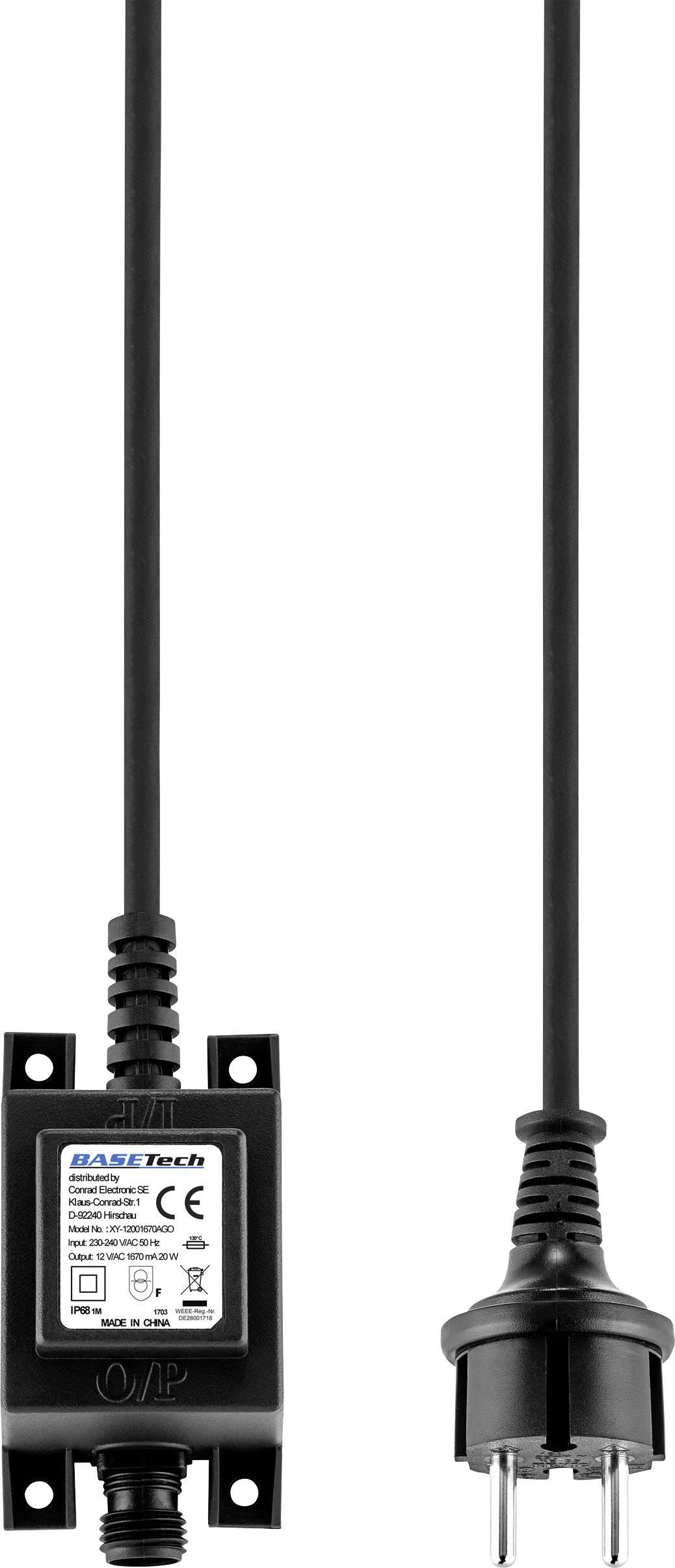 Transformátor pro halogenové osvětlení Basetech 20 W, 12 V/AC