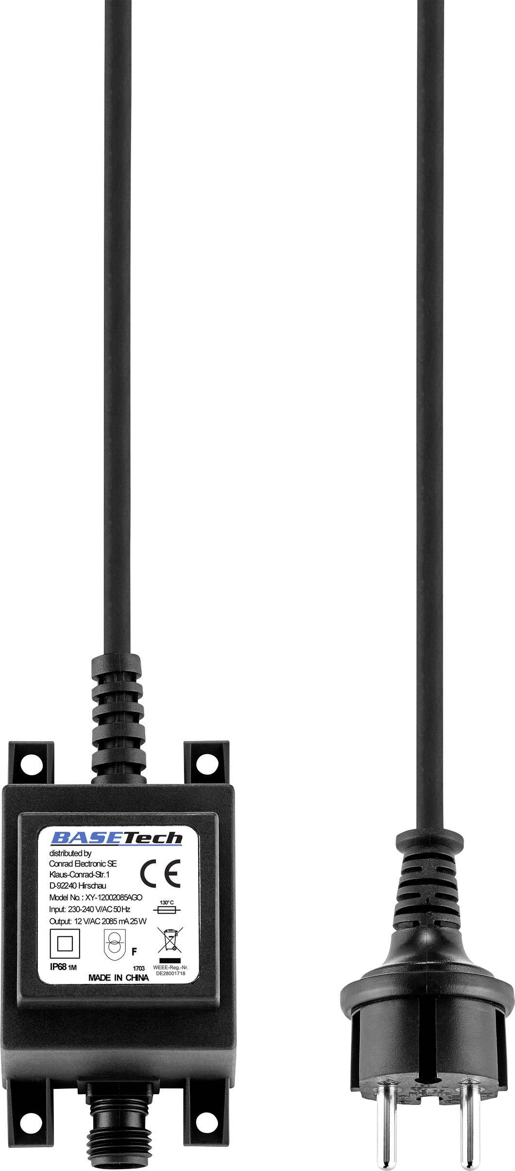 Transformátor pro halogenové osvětlení Basetech XY-12002085AGO, 25 W, 12 V/AC