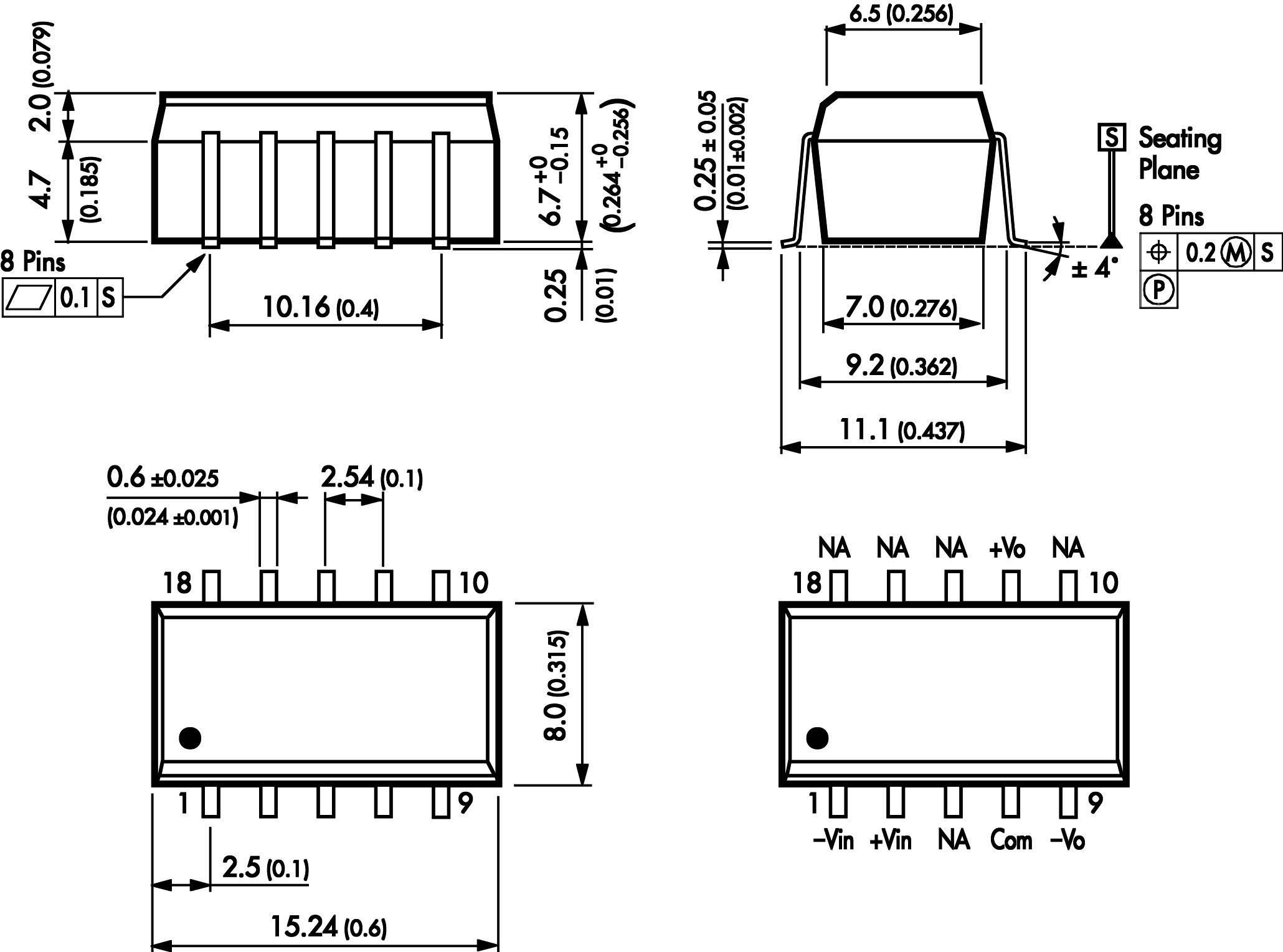 DC/DC měnič TracoPower TSM 0515D, vstup (±10 %) 5 V/DC, výstup ±15 V/DC, ±30 mA, 1 W