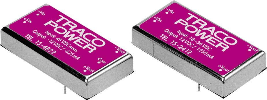 DC/DC měnič TracoPower TEL 15-1222, vstup 9 - 18 V/DC, výstup ±12 V/DC, ±625 mA, 15 W