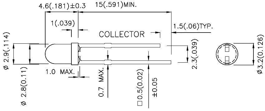 Fototranzistor 3 mm TYP L- 932P3