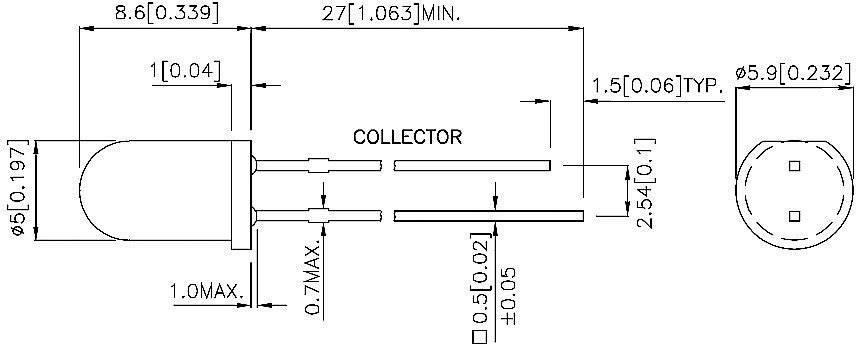 Fototranzistor 5 mm TYP L- 53P3B