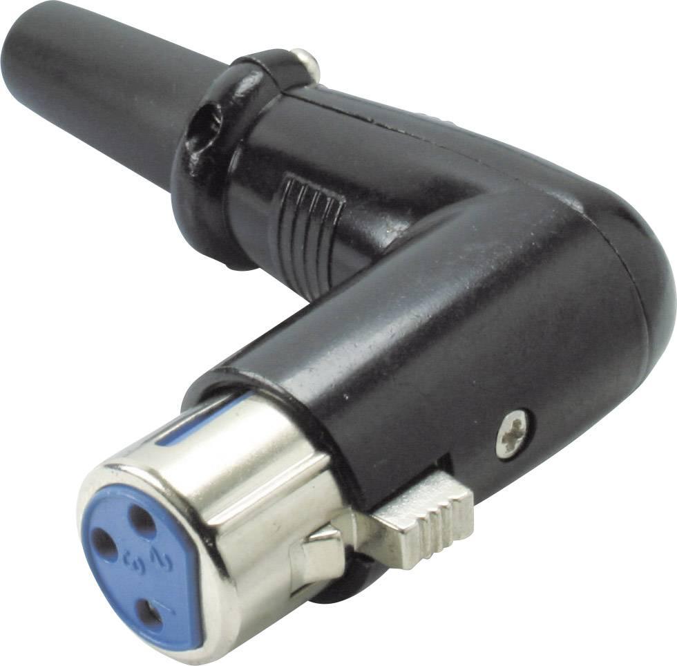 XLR konektor Kash - spojka, zahnutá 3, černá, 1 ks