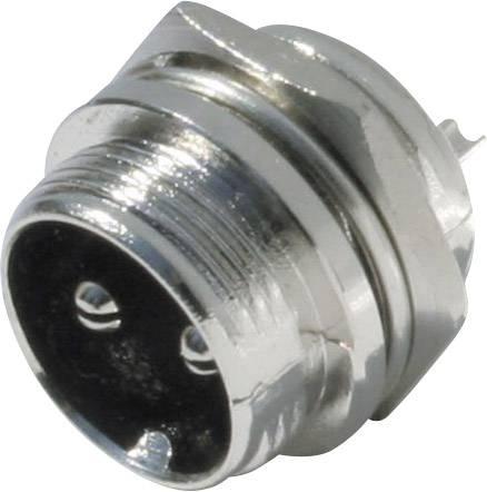 Mini DIN konektor Kash - zástrčka, vestavná rovná, pólů 2, stříbrná, 1 ks
