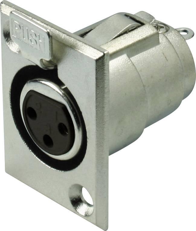 XLR konektor Kash - přírubová zásuvka 3, stříbrná, 1 ks