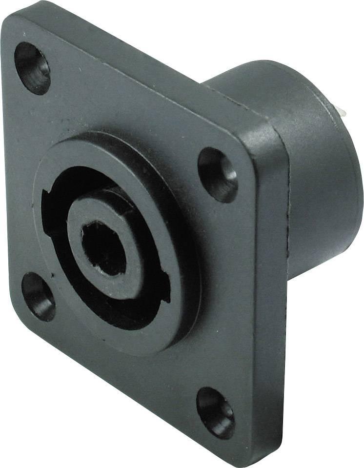 Konektor reproduktoru Kash - přírubová zásuvka, rovná, pólů 4, černá, 1 ks