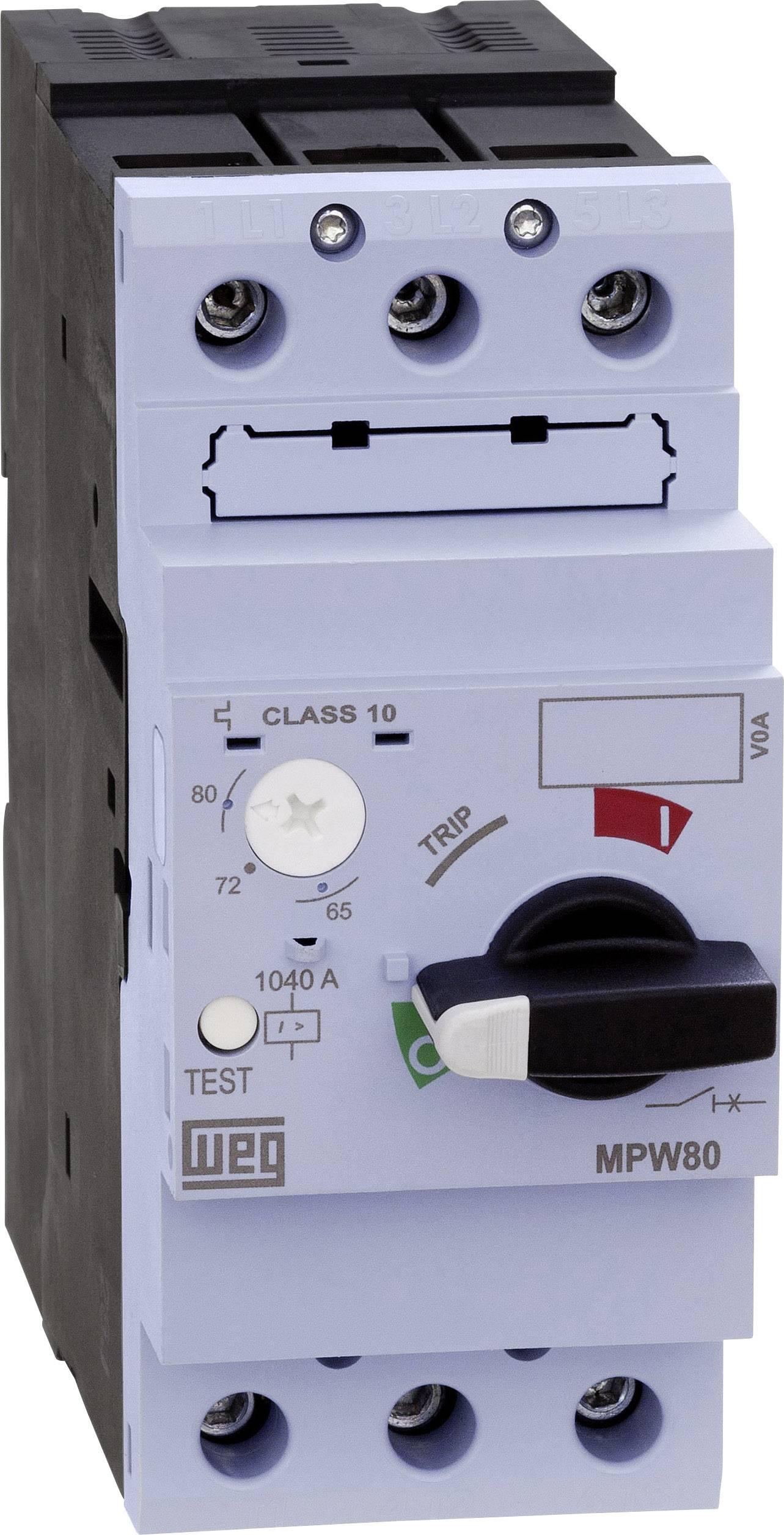 Ochranný spínač motora WEG MPW80-3-U050, nastaviteľné, 50 A, IP20, 1 ks
