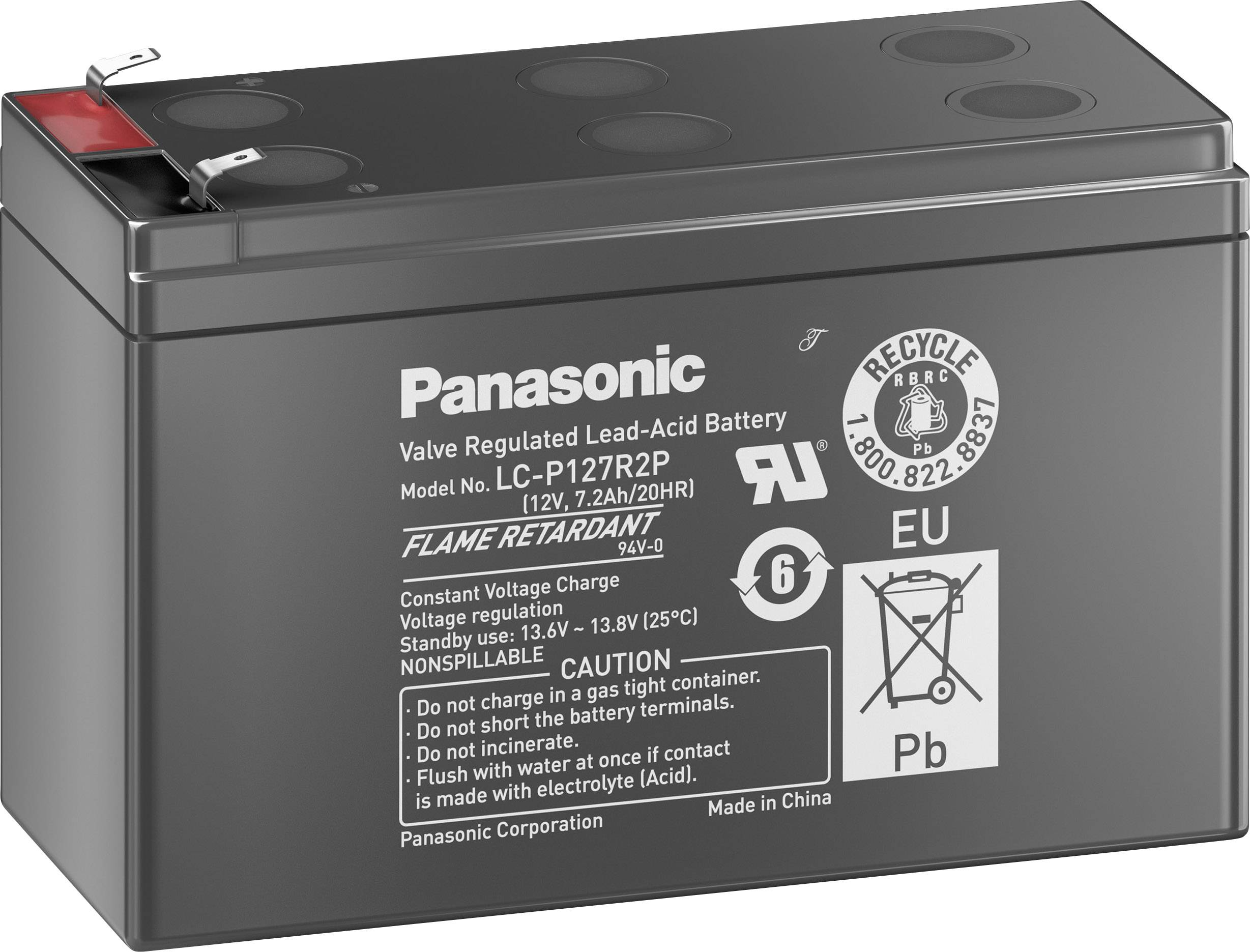 Olověný akumulátor Panasonic 12V 7,2Ah LC-P127R2P1, 7.2 Ah, 12 V
