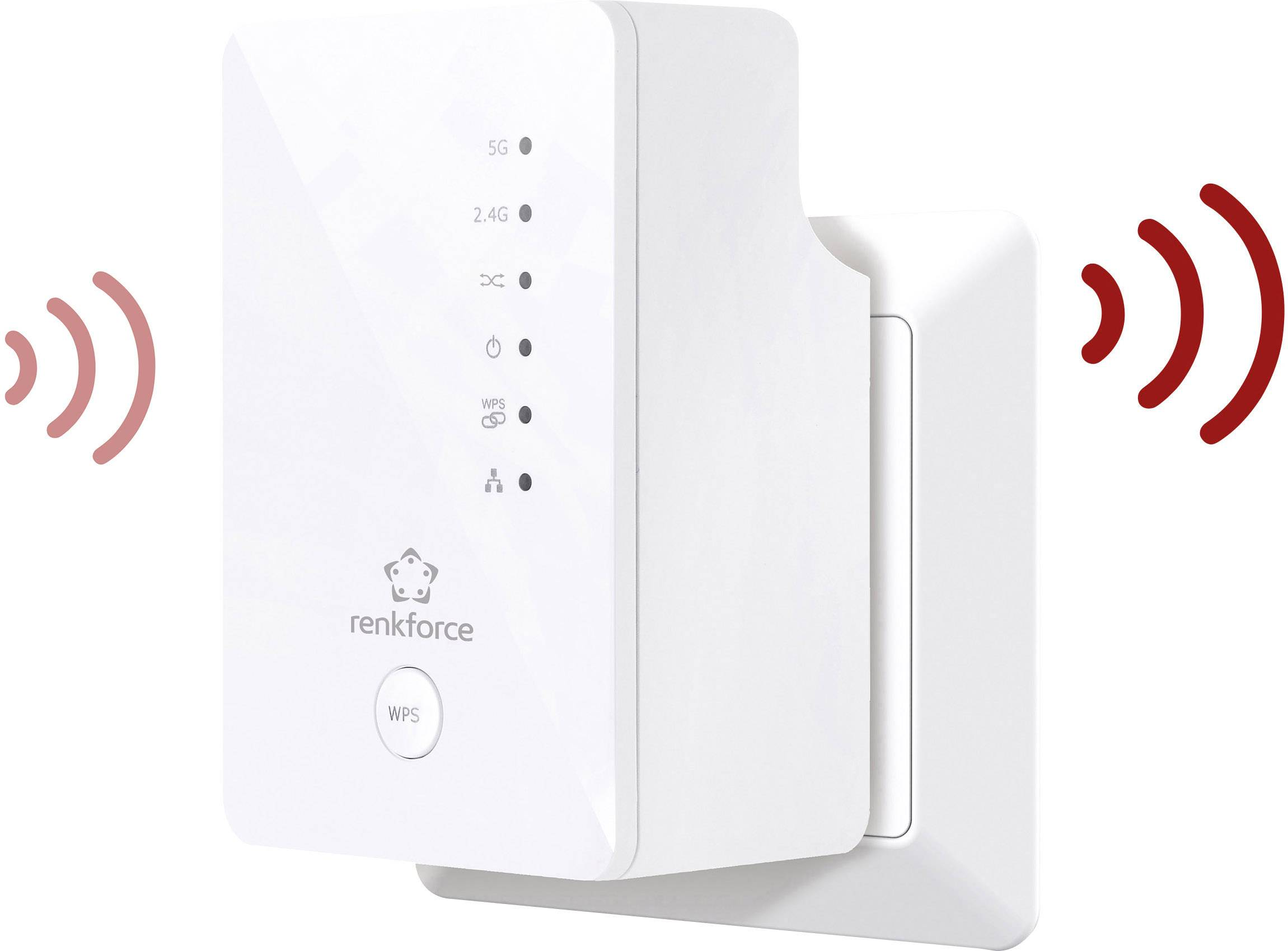 Wi-Fi opakovač Renkforce RF-WR-1200RF, 1.2 Gbit/s, 2.4 GHz, 5 GHz