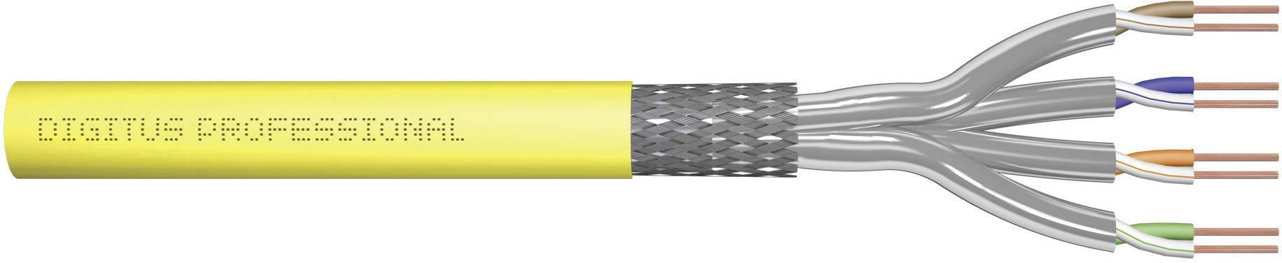 Ethernetový síťový kabel CAT 7a Digitus Professional DK-1743-A-VH-10, S/FTP, 4 x 2 x 0.32 mm², žlutá, 1000 m