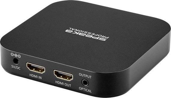 Audio extraktor HDMI zásuvka ⇒ Toslink zásuvka (ODT), jack zásuvka 3,5 mm, HDMI zásuvka SpeaKa Professional Aluminium SP-6198888