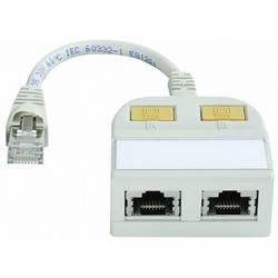 RJ45 sieťový Y adaptér Telegärtner J00029A0013 [2x RJ45 zásvuka - 1x RJ45 zástrčka], svetlo sivá (RAL 7035)
