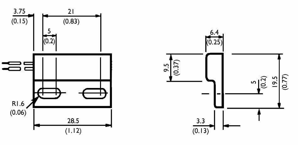 Jazyčkový kontakt TE Connectivity Sensor PS2021, 1 rozpínací, 100 V/AC, 0.3 A, 3 W